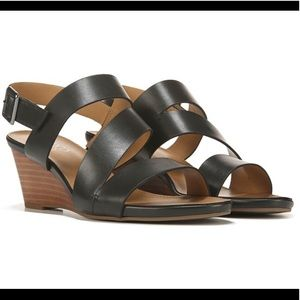NEW Franco Sarto Desi Wedge Heel Sandals Black